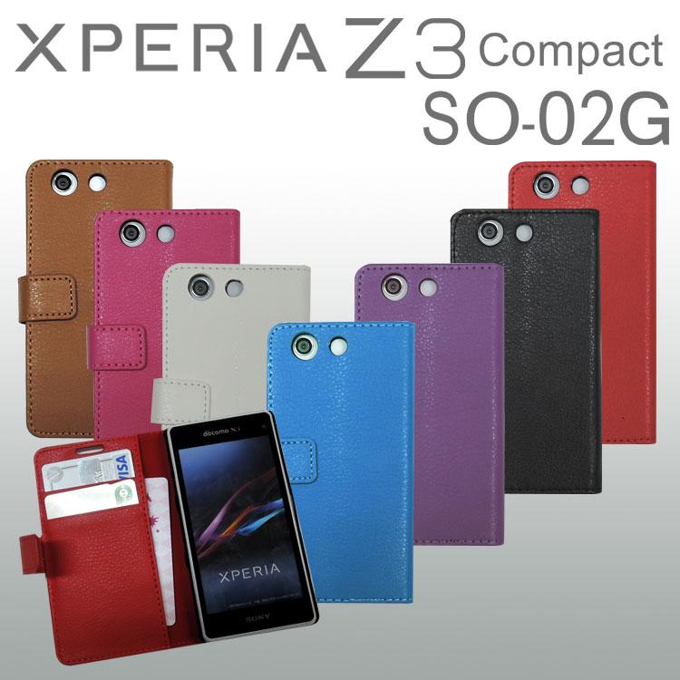 61f0d5a5ff 送料無料】 Xperia Z3 Compact SO-02G レザーケース エクスぺリア 手帳型 ...